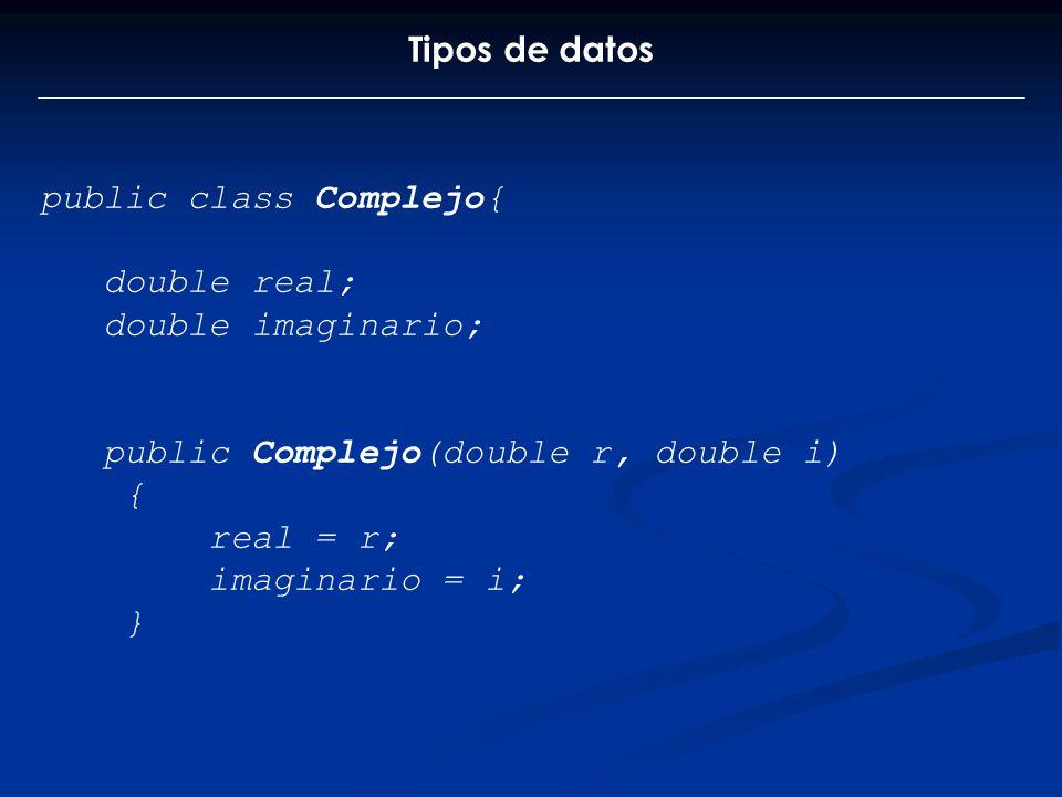 Tipos de datos public class Complejo{ double real; double imaginario; public Complejo(double r, double i)