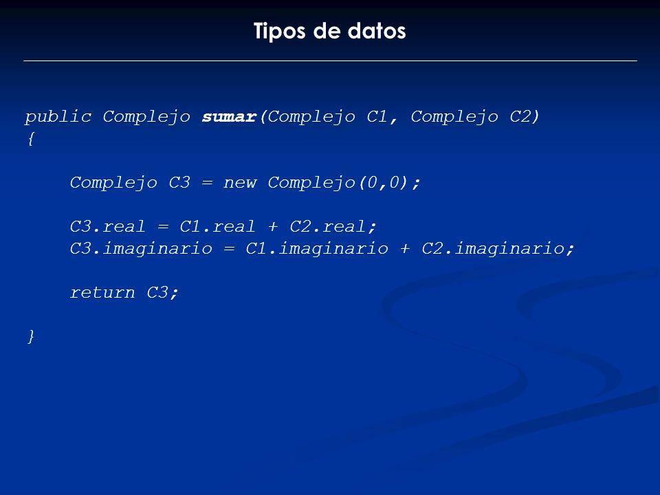 Tipos de datos public Complejo sumar(Complejo C1, Complejo C2) {