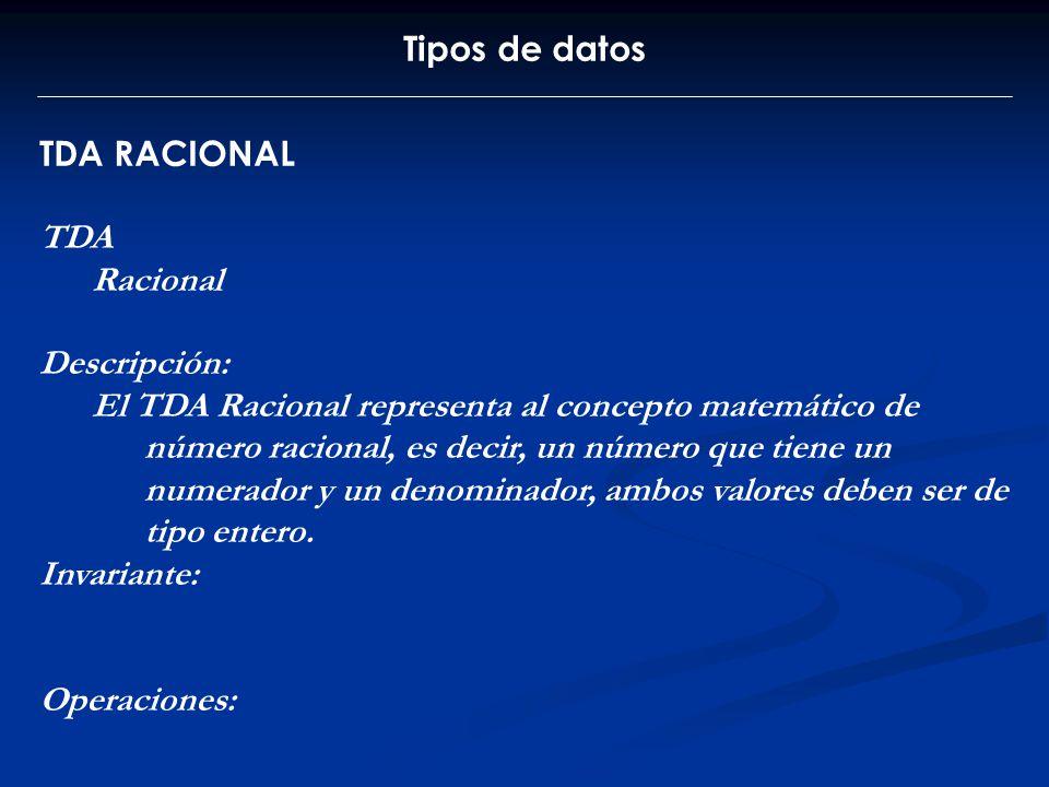 Tipos de datos TDA RACIONAL. TDA. Racional. Descripción: