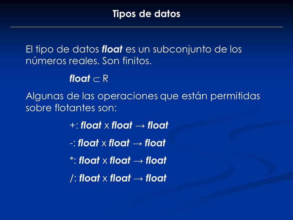 Tipos de datos El tipo de datos float es un subconjunto de los números reales. Son finitos. float  R.