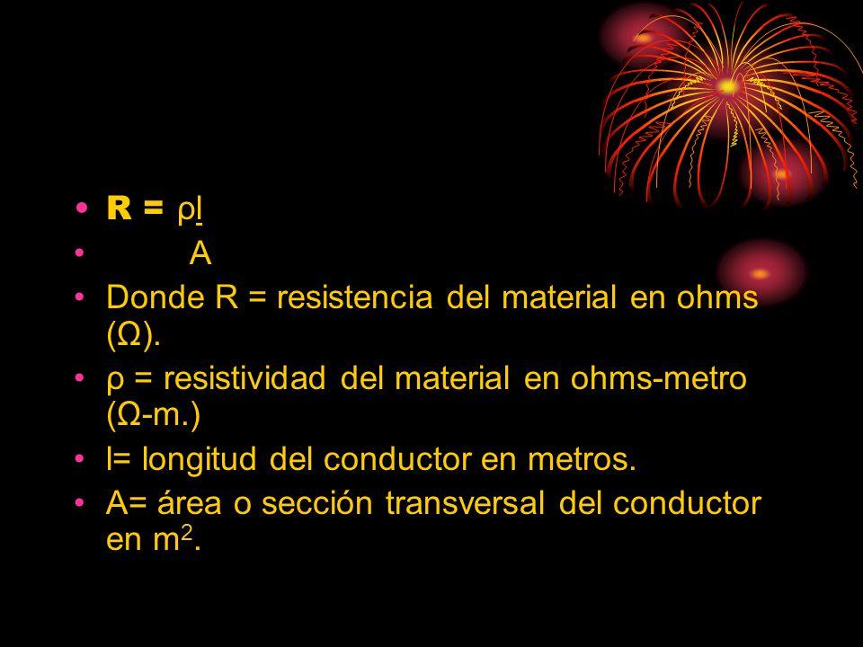 R = ρl A. Donde R = resistencia del material en ohms (Ω). ρ = resistividad del material en ohms-metro (Ω-m.)
