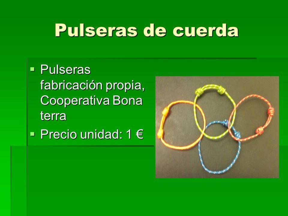 Pulseras de cuerda Pulseras fabricación propia, Cooperativa Bona terra