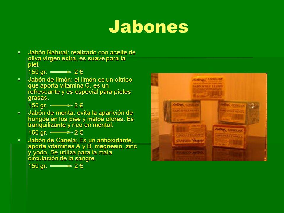Jabones Jabón Natural: realizado con aceite de oliva virgen extra, es suave para la piel. 150 gr. 2 €