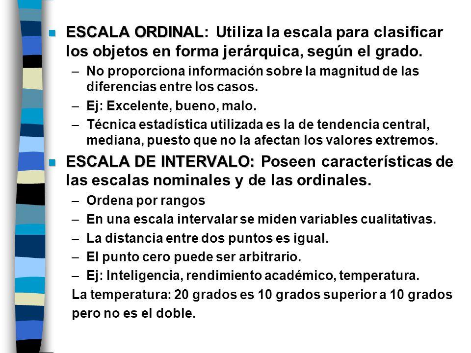 ESCALA ORDINAL: Utiliza la escala para clasificar los objetos en forma jerárquica, según el grado.