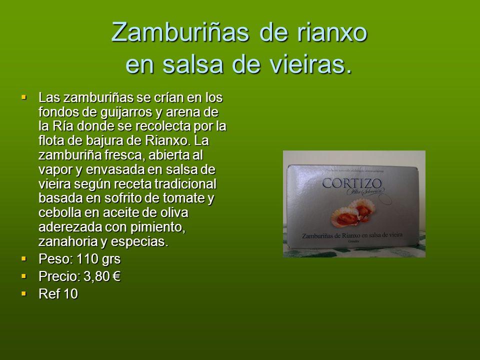 Zamburiñas de rianxo en salsa de vieiras.