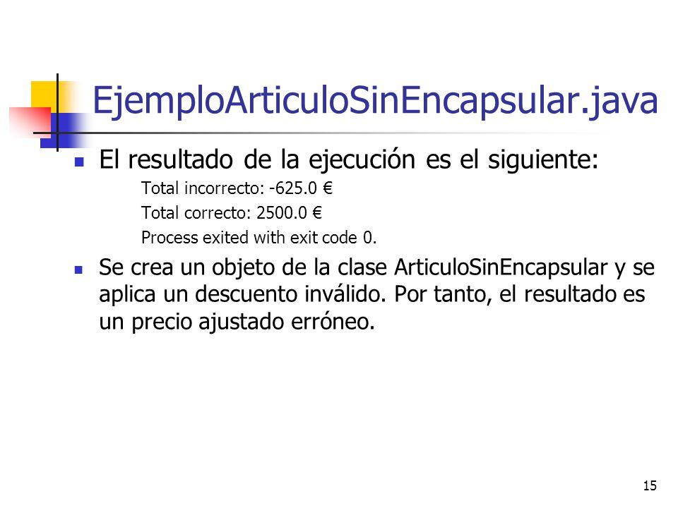 EjemploArticuloSinEncapsular.java El resultado de la ejecución es el siguiente: Total incorrecto: -625.0 €