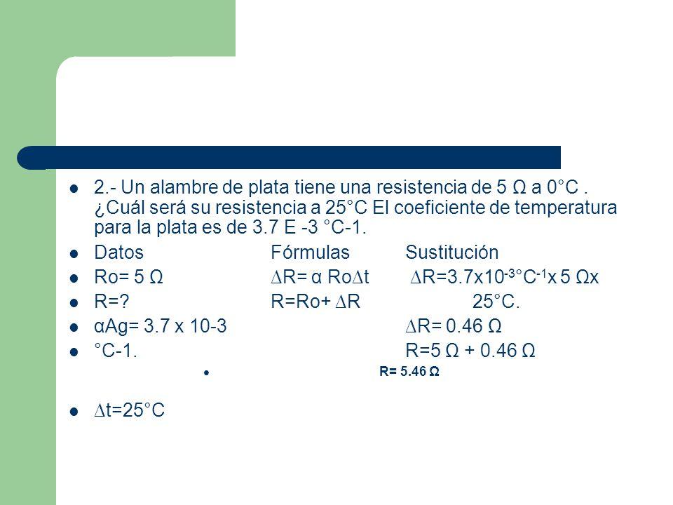 Datos Fórmulas Sustitución Ro= 5 Ω ∆R= α Ro∆t ∆R=3.7x10-3°C-1x 5 Ωx