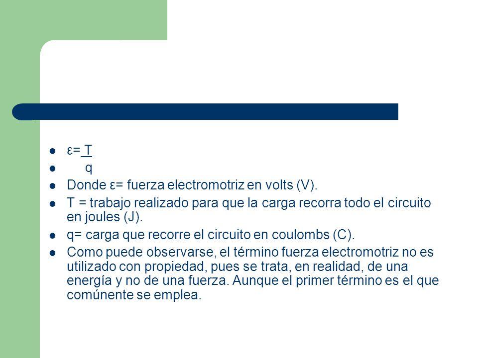 ε= T q. Donde ε= fuerza electromotriz en volts (V). T = trabajo realizado para que la carga recorra todo el circuito en joules (J).