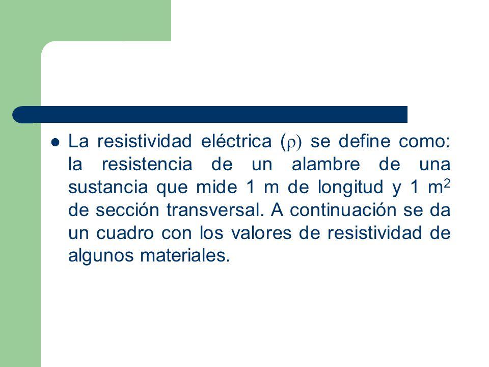 La resistividad eléctrica (ρ) se define como: la resistencia de un alambre de una sustancia que mide 1 m de longitud y 1 m2 de sección transversal.