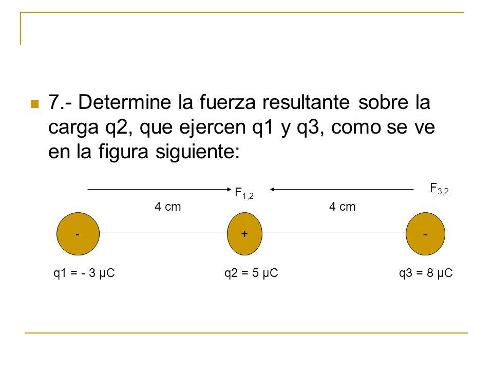 7.- Determine la fuerza resultante sobre la carga q2, que ejercen q1 y q3, como se ve en la figura siguiente: