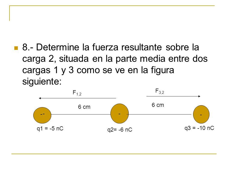 8.- Determine la fuerza resultante sobre la carga 2, situada en la parte media entre dos cargas 1 y 3 como se ve en la figura siguiente: