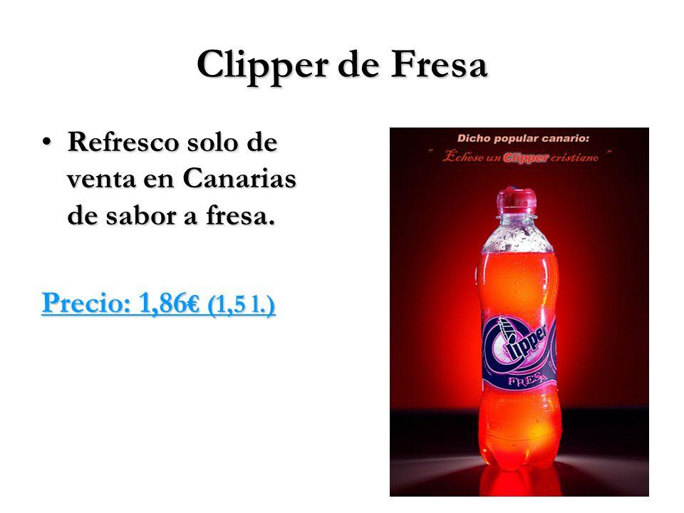 Clipper de Fresa Refresco solo de venta en Canarias de sabor a fresa.