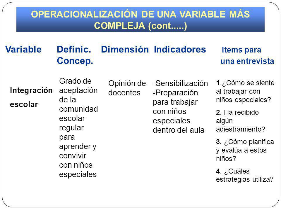 OPERACIONALIZACIÓN DE UNA VARIABLE MÁS COMPLEJA (cont.....)