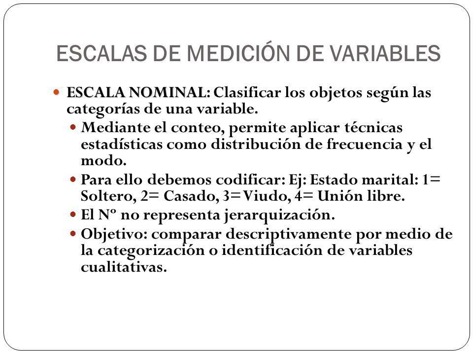 ESCALAS DE MEDICIÓN DE VARIABLES