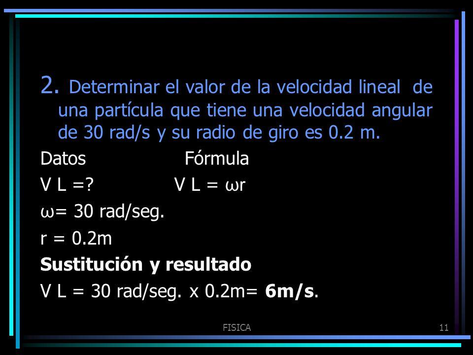 2. Determinar el valor de la velocidad lineal de una partícula que tiene una velocidad angular de 30 rad/s y su radio de giro es 0.2 m.