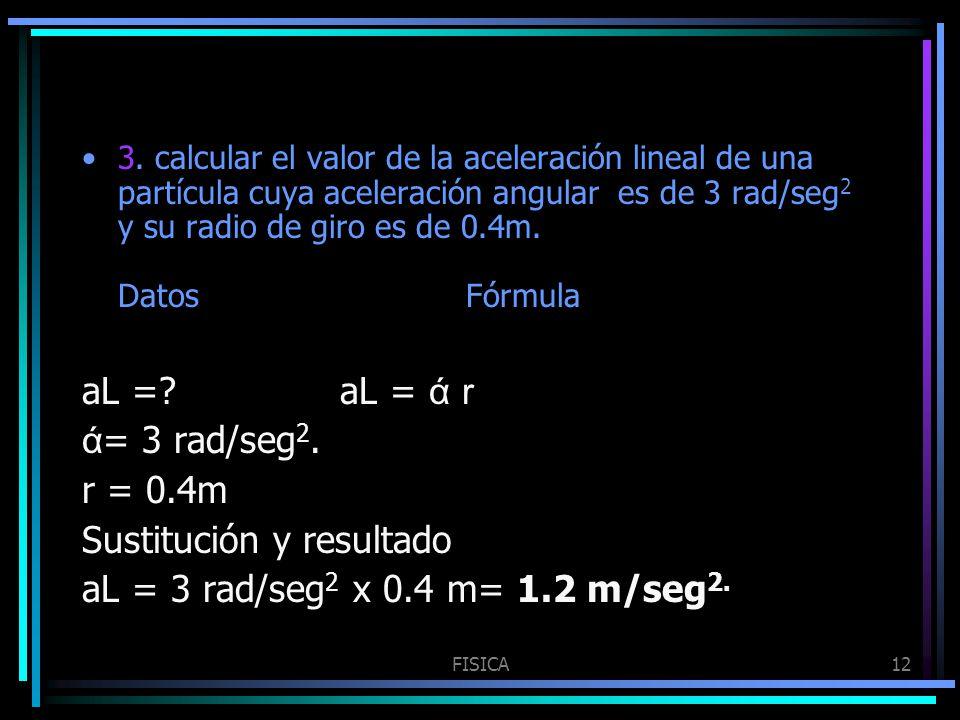 Sustitución y resultado aL = 3 rad/seg2 x 0.4 m= 1.2 m/seg2.