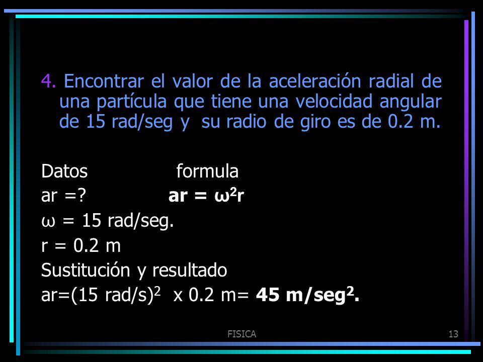 Sustitución y resultado ar=(15 rad/s)2 x 0.2 m= 45 m/seg2.