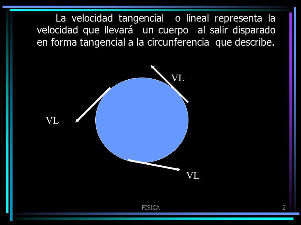 La velocidad tangencial o lineal representa la velocidad que llevará un cuerpo al salir disparado en forma tangencial a la circunferencia que describe.