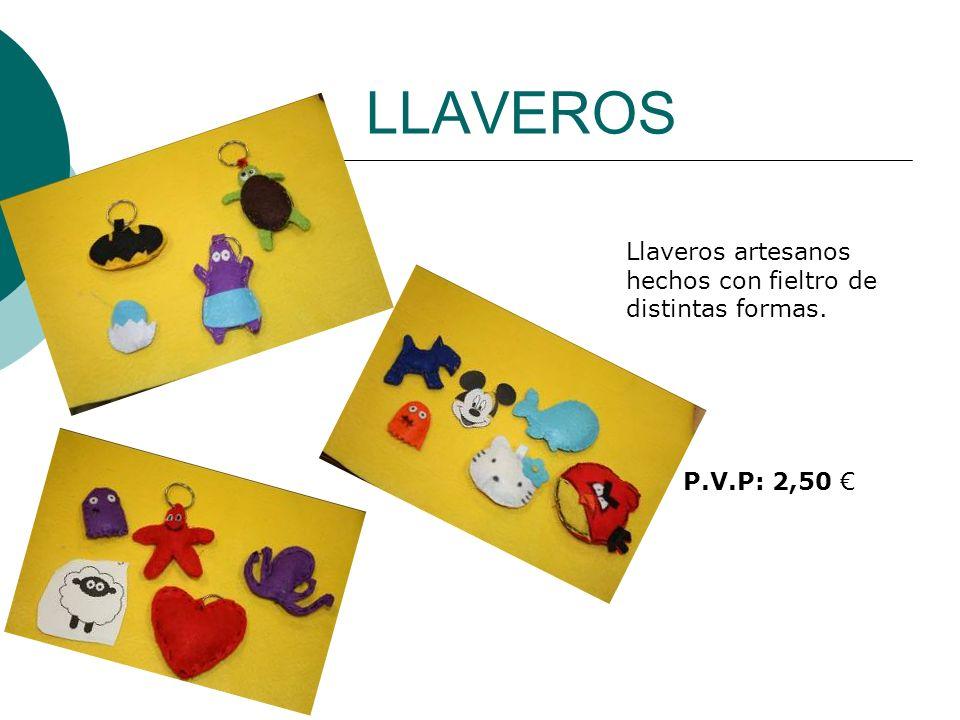 LLAVEROS Llaveros artesanos hechos con fieltro de distintas formas.