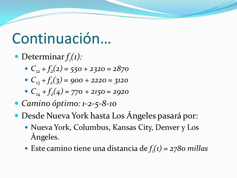 Continuación… Determinar f1(1): Camino óptimo: 1-2-5-8-10
