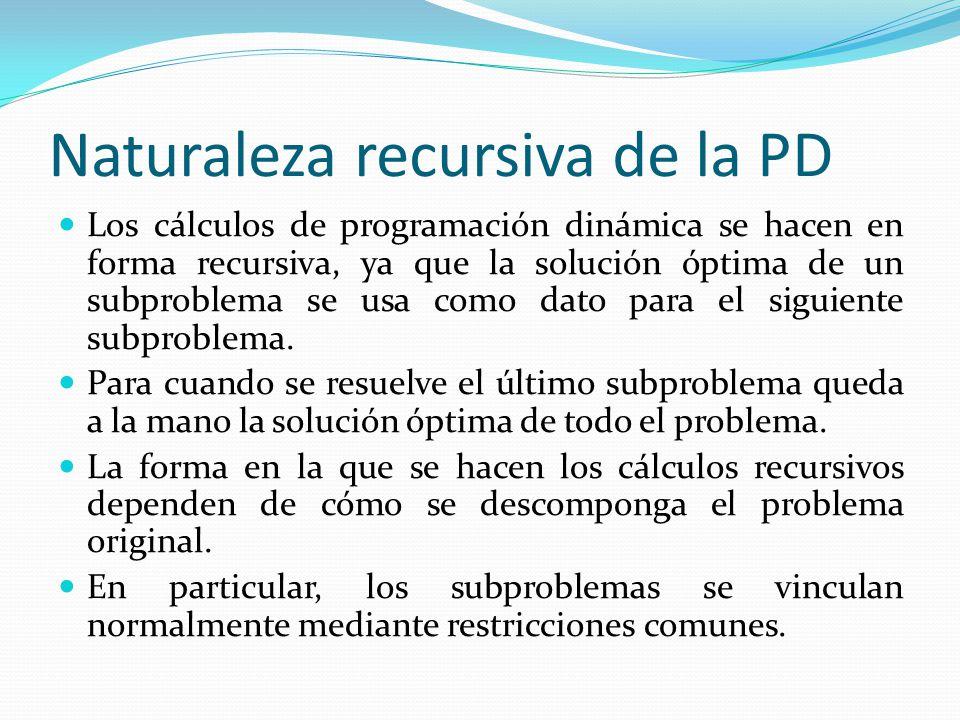 Naturaleza recursiva de la PD