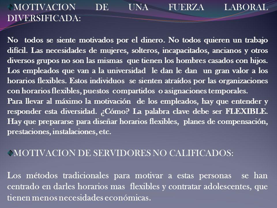 MOTIVACION DE UNA FUERZA LABORAL DIVERSIFICADA: