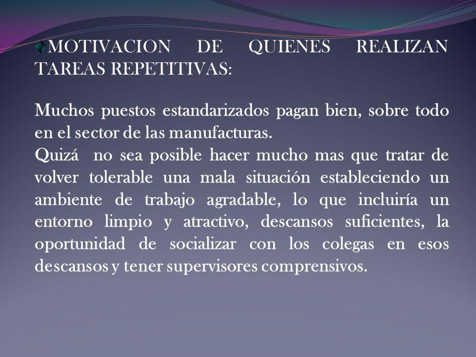 MOTIVACION DE QUIENES REALIZAN TAREAS REPETITIVAS: