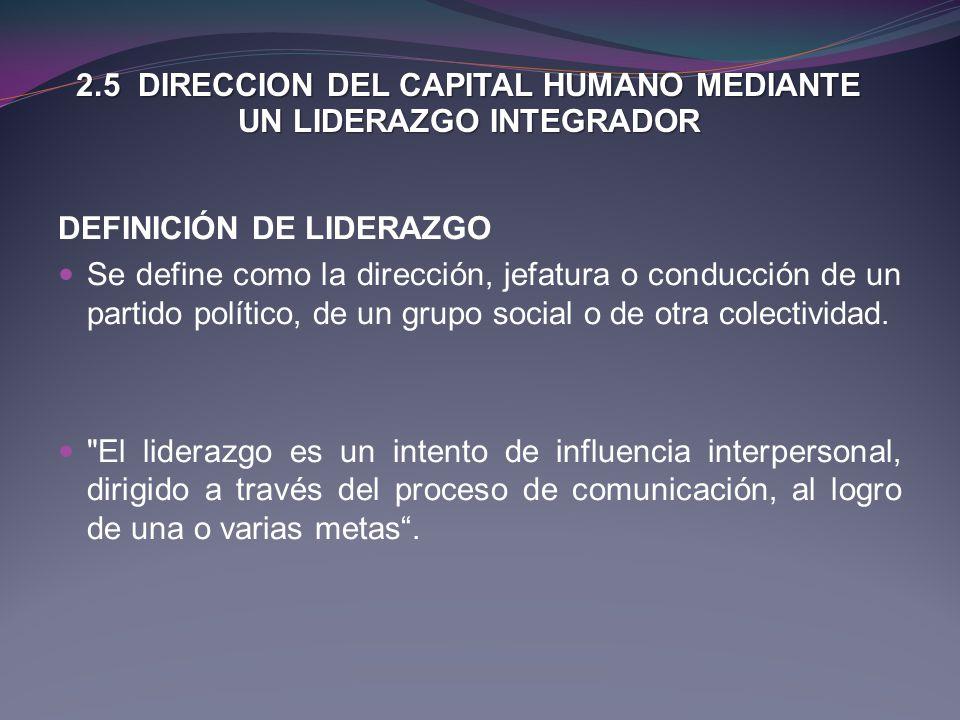 2.5 DIRECCION DEL CAPITAL HUMANO MEDIANTE UN LIDERAZGO INTEGRADOR