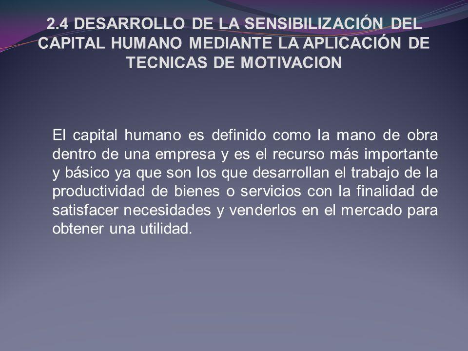 2.4 DESARROLLO DE LA SENSIBILIZACIÓN DEL CAPITAL HUMANO MEDIANTE LA APLICACIÓN DE TECNICAS DE MOTIVACION
