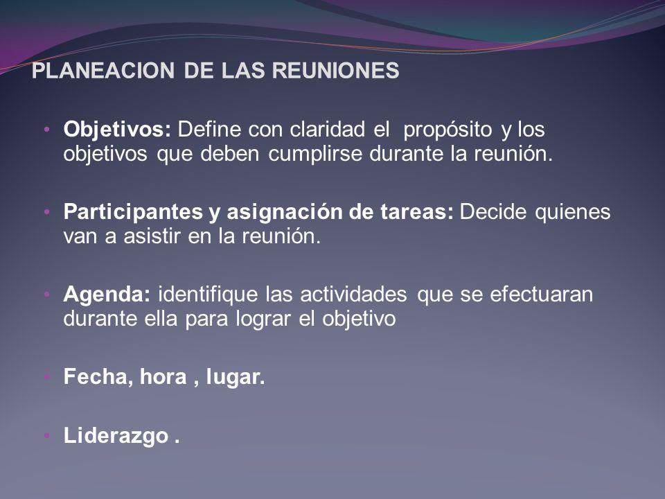 PLANEACION DE LAS REUNIONES