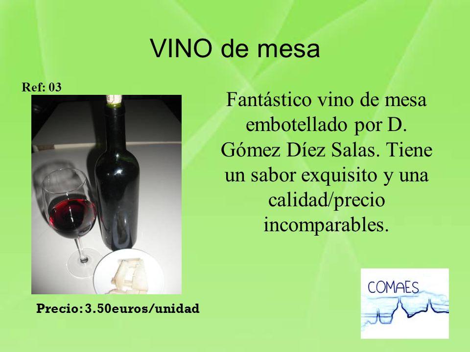 VINO de mesa Ref: 03. Fantástico vino de mesa embotellado por D. Gómez Díez Salas. Tiene un sabor exquisito y una calidad/precio incomparables.