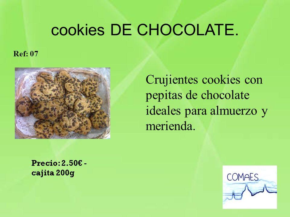 cookies DE CHOCOLATE. Ref: 07. Crujientes cookies con pepitas de chocolate ideales para almuerzo y merienda.