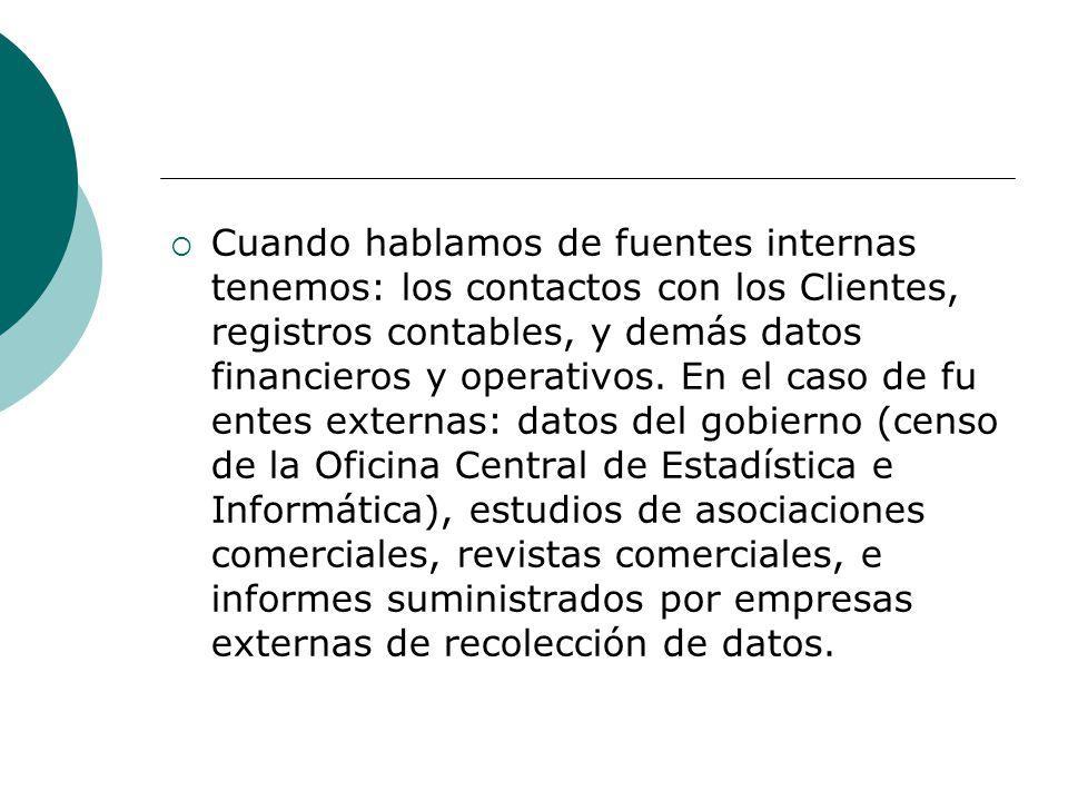 Cuando hablamos de fuentes internas tenemos: los contactos con los Clientes, registros contables, y demás datos financieros y operativos.