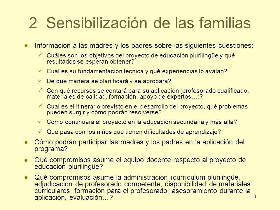 2 Sensibilización de las familias