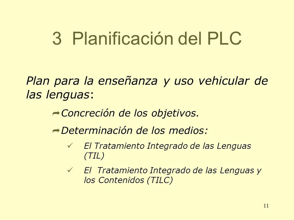 3 Planificación del PLC Plan para la enseñanza y uso vehicular de las lenguas: Concreción de los objetivos.