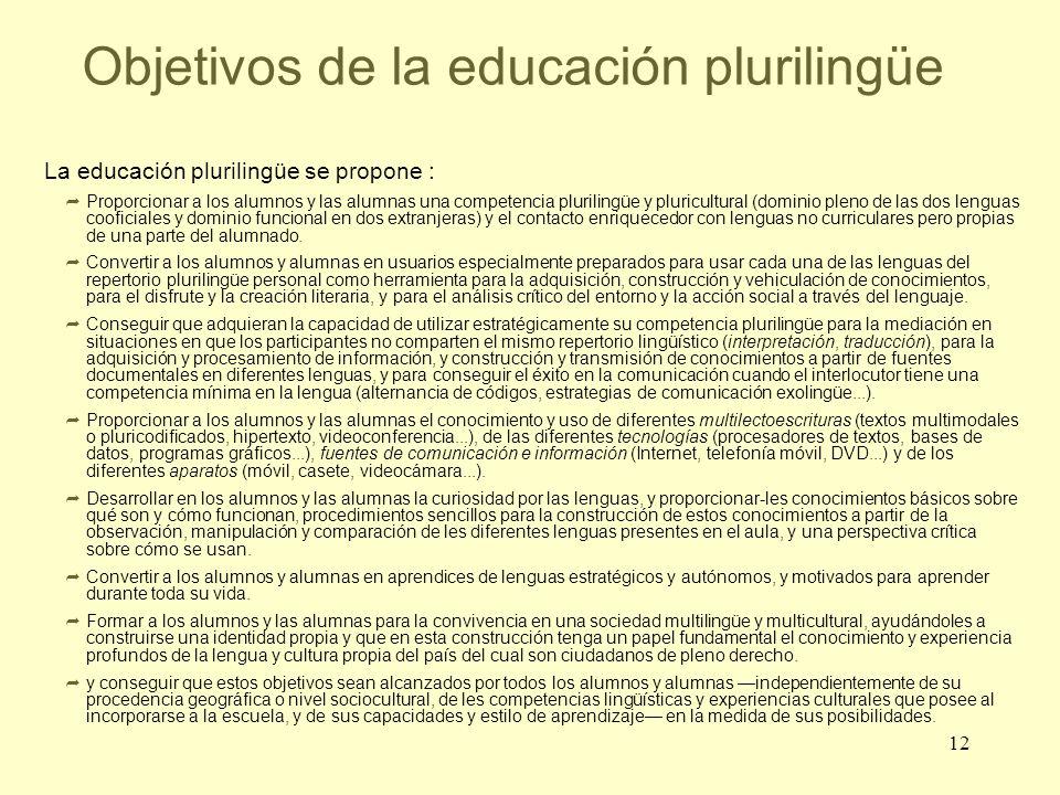 Objetivos de la educación plurilingüe