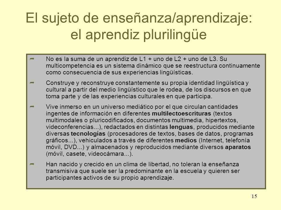 El sujeto de enseñanza/aprendizaje: el aprendiz plurilingüe
