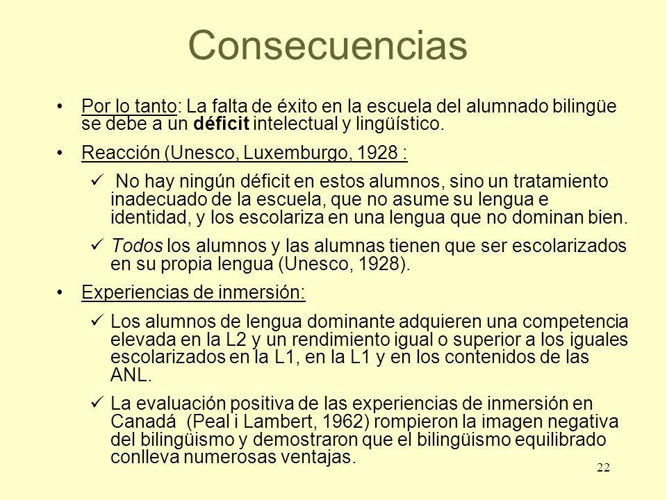 Consecuencias Por lo tanto: La falta de éxito en la escuela del alumnado bilingüe se debe a un déficit intelectual y lingüístico.