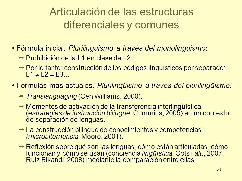 Articulación de las estructuras diferenciales y comunes