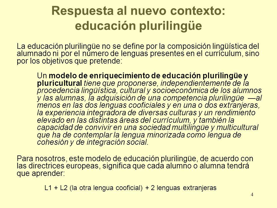 Respuesta al nuevo contexto: educación plurilingüe