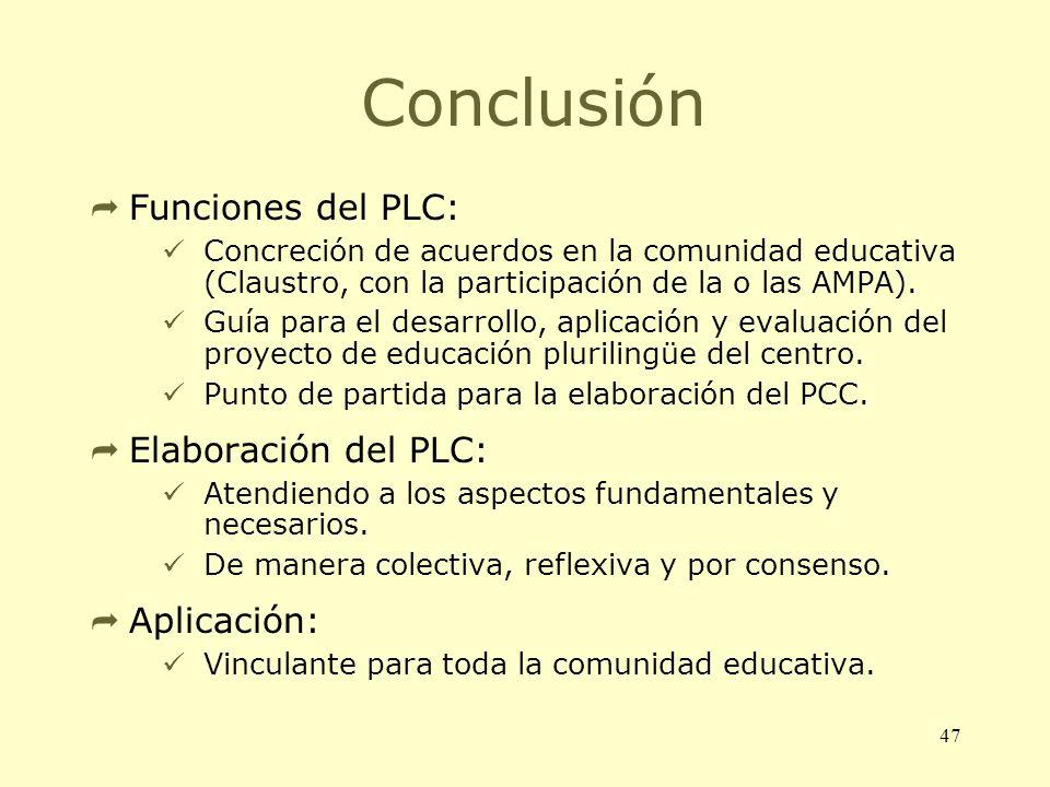 Conclusión Funciones del PLC: Elaboración del PLC: Aplicación: