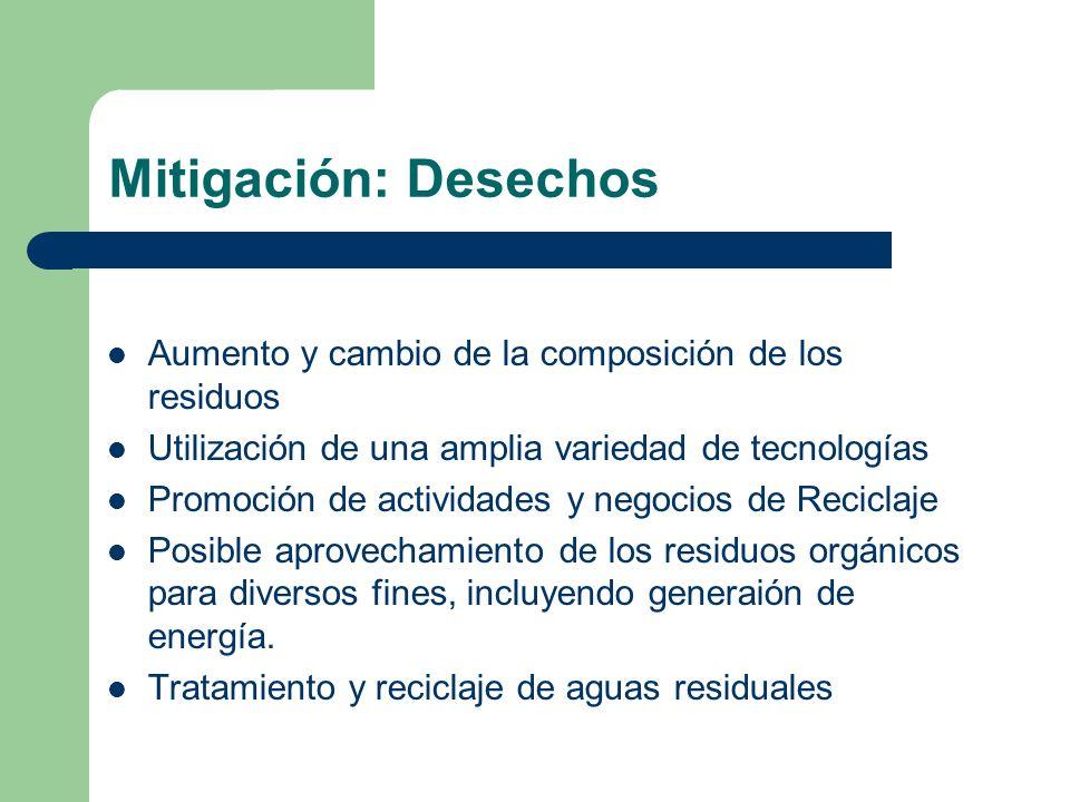 Mitigación: Desechos Aumento y cambio de la composición de los residuos. Utilización de una amplia variedad de tecnologías.