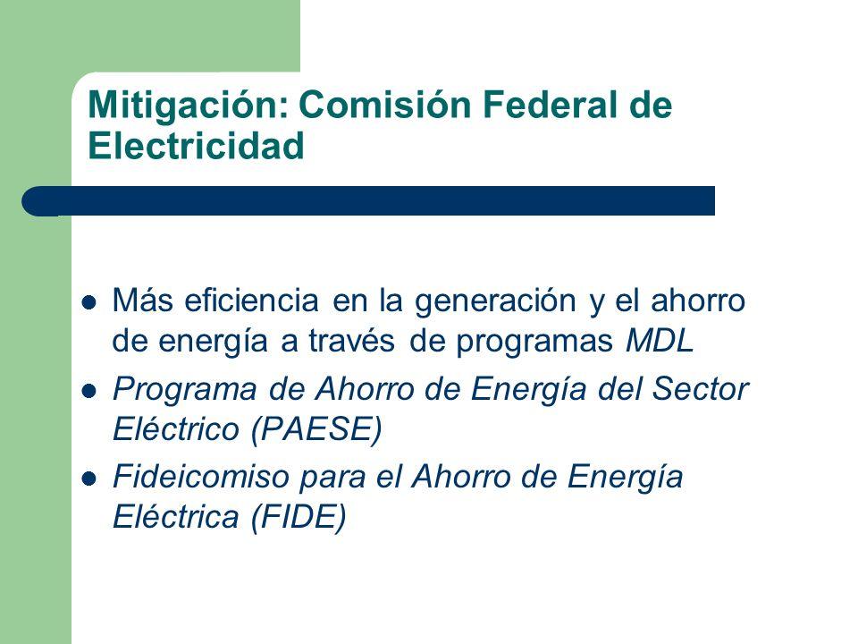 Mitigación: Comisión Federal de Electricidad