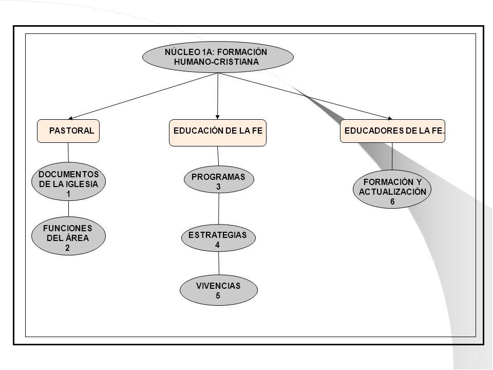 NÚCLEO 1A: FORMACIÓN HUMANO-CRISTIANA. PASTORAL. EDUCACIÓN DE LA FE. EDUCADORES DE LA FE. DOCUMENTOS.