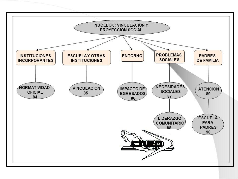 NÚCLEO 8: VINCULACIÓN Y PROYECCIÓN SOCIAL. INSTITUCIONES. INCORPORANTES. ESCUELA Y OTRAS. INSTITUCIONES.