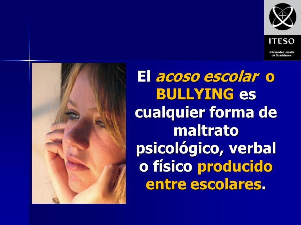 El acoso escolar o BULLYING es cualquier forma de maltrato psicológico, verbal o físico producido entre escolares.