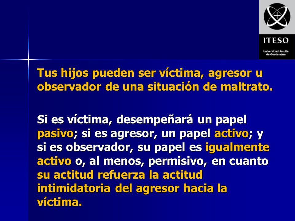 Tus hijos pueden ser víctima, agresor u observador de una situación de maltrato.