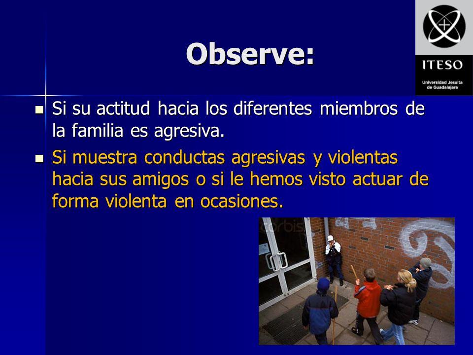 Observe: Si su actitud hacia los diferentes miembros de la familia es agresiva.