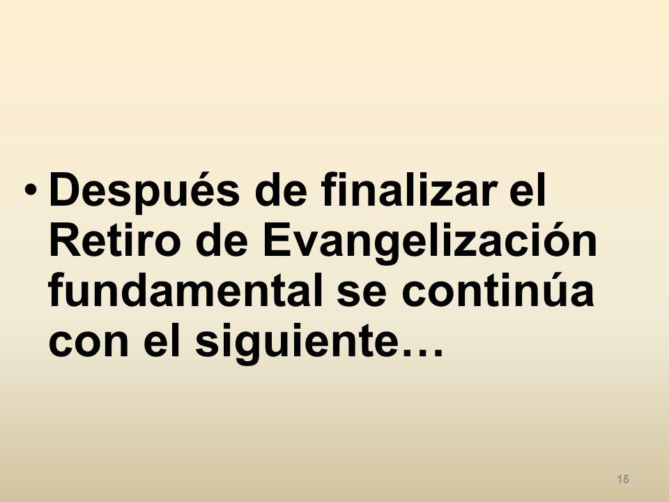 Después de finalizar el Retiro de Evangelización fundamental se continúa con el siguiente…
