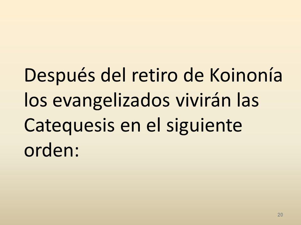 Después del retiro de Koinonía los evangelizados vivirán las Catequesis en el siguiente orden: